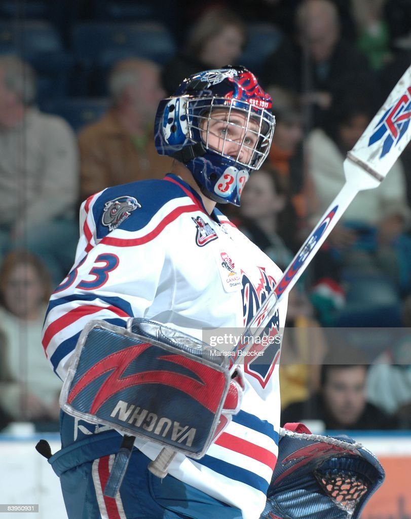 Linden Rowat of the Regina Pats defends the net against the Kelowna Rockets on December 5 2008 at Prospera Place in Kelowna Canada