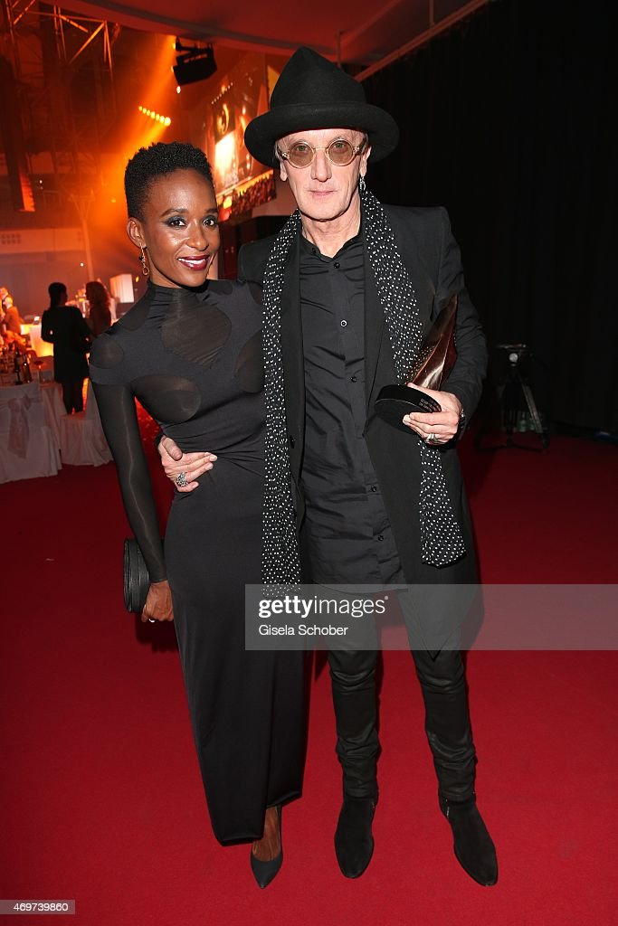 Lindiwe Suttle and Marius Mueller Westernhagen with award during the LEA Live Entertainment Award 2015 at Festhalle Frankfurt on April 14 2015 in...