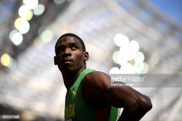 Lindon Victor of Granada competes in the Men's Decathlon 100 metres during day eight of the 16th IAAF World Athletics Championships London 2017 at...
