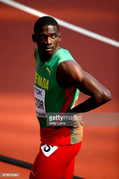 Lindon Victor of Grenada competes in the Men's Decathlon 100 metres during day eight of the 16th IAAF World Athletics Championships London 2017 at...