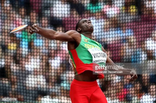 Lindon Victor of Grenada competes in the Men's Decathlon Discus during day nine of the 16th IAAF World Athletics Championships London 2017 at The...