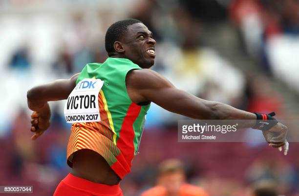 Lindon Victor of Grenada competes in the Men's Decathlon Shot Put during day eight of the 16th IAAF World Athletics Championships London 2017 at The...