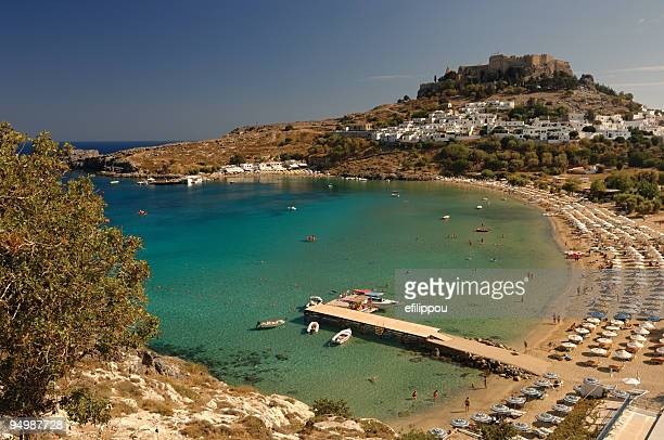 Lindos beach and acropolis