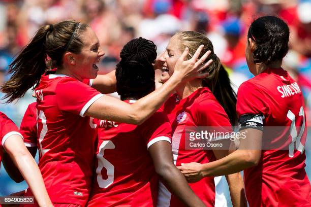 TORONTO ON JUNE 11 Lindsay Agnew Deanne Rose Janine Beckie and Christine Sinclair celebrate Beckie's third goal during the 1st half of a friendly...