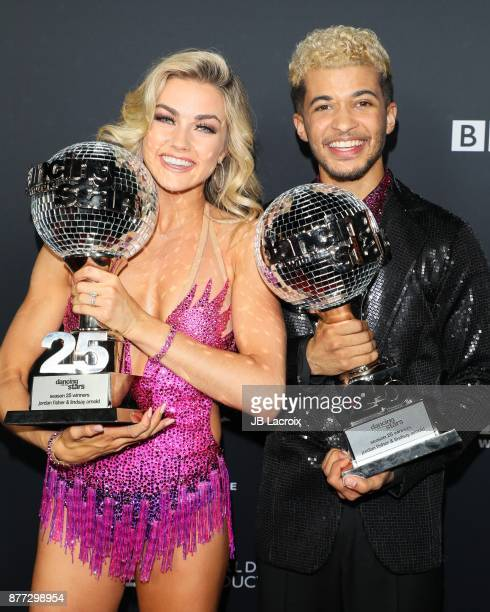 Lindsay Arnold and Jordan Fisher attend the 'Dancing With The Stars' Season 25 Finale on November 21 2017 in Los Angeles California