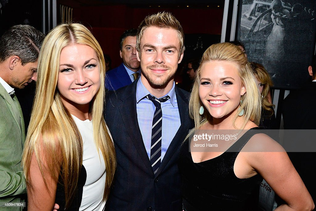 Lindsay Arnold, Derek Hough and Whitney Carson attend OK! TV Awards Party at Sofitel Hotel on August 21, 2014 in Los Angeles, California.