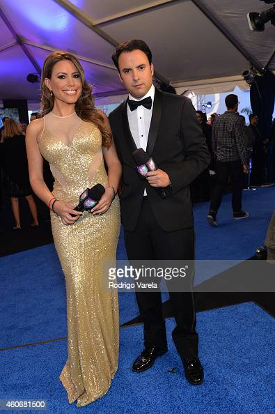 Lindsay Casinelli and Alejandro Berry attend the inagural Premios Univision Deportes at Univision Studios on December 17 2014 in Miami Florida