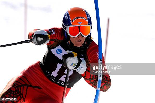 Lindsay Cone of St Lawrence University competes in the Women's Slalom at the 2009 NCAA Skiing Championships held at Sunday River Ski Area Newry ME...