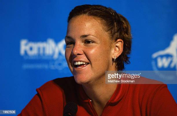 Lindsay Davenport fields questions from the media during the Family Circle Cup on April 8 2003 at the Family Circle Magazine Stadium on Daniel Island...