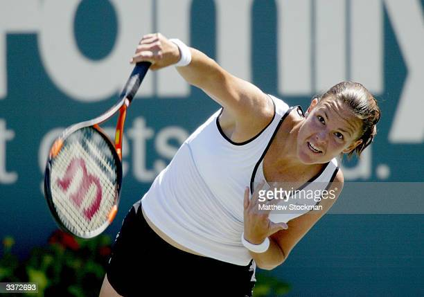 Lindsay Davenport serves to Nicole Pratt of Australia during the Family Circle Cup April 15 2004 at the Family Circle Cup Tennis Center in Charleston...