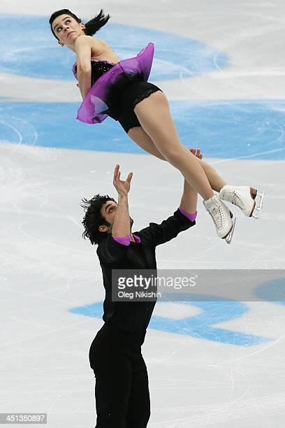 Lindsay Davis and Rockne Brubaker of USA skates in the Pairs Short Program during ISU Rostelecom Cup of Figure Skating 2013 on November 22 2013 in...