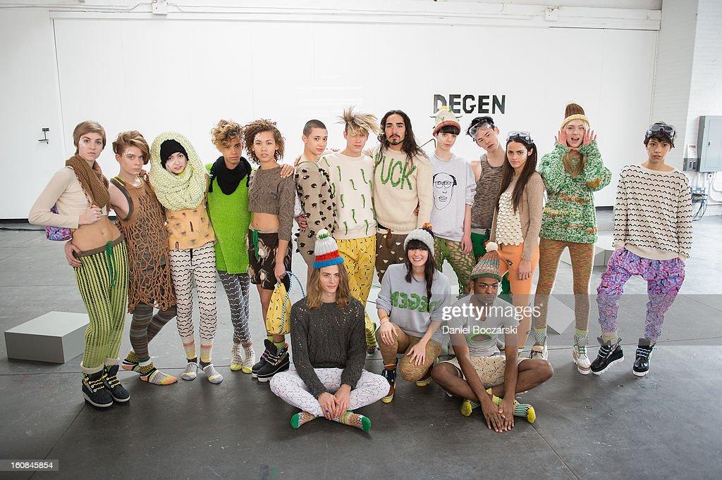 Lindsay Degen (bottom center) and models present new designs at The Vladar Company Presents Lindsay Degen's Fall/Winter 2013 Collection 'Doctors Degen' at Industria Superstudio on February 6, 2013 in New York City.