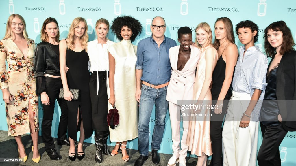 Lindsay Ellingson, Elise Crombez, Vanessa Axente, Doutzen Kroes, Imaan Hammam, Reed Krakoff, Achok Majak, Julia Nobis, Othilia Simon, Dilone, and Kati Nescher attend the Tiffany & Co. Fragrance launch event on September 6, 2017 in New York City.
