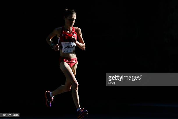 Lindsay Flanagan of the United States runs during the women's marathon at the Pan Am Games on July 18 2015 in Toronto Ontario Flanagan won the bronze...