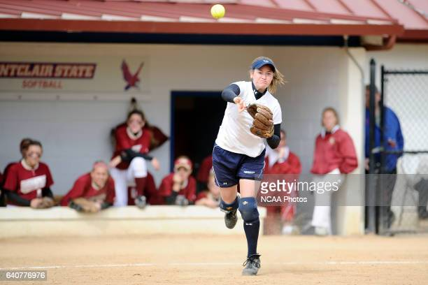 Lindsay Hall of Messiah College throws to first base during the Division III Women's Softball Championship held at the Montclair State University...