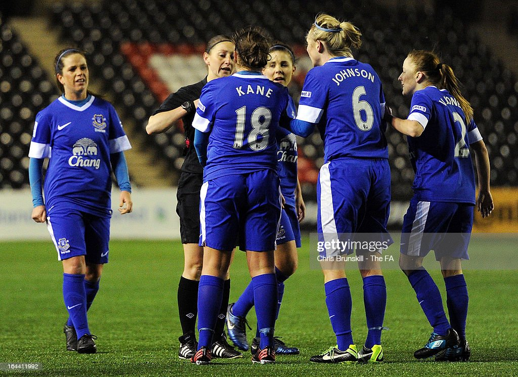 Lindsay Johnson of Everton Ladies FC argues with referee <a gi-track='captionPersonalityLinkClicked' href=/galleries/search?phrase=Sian+Massey&family=editorial&specificpeople=6733765 ng-click='$event.stopPropagation()'>Sian Massey</a> during the FA WSL Continental Cup match between Liverpool Ladies FC and Everton Ladies FC at the Halton Stadium on March 23, 2013 in Liverpool, England.
