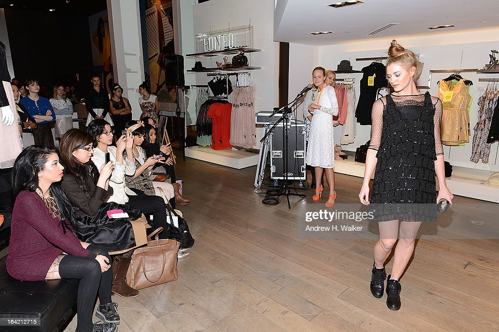 Lindsay Leif and Teen Vogue's Mary Kate Steinmiller speak at the Topshop Prom Event on March 20, 2013 in New York City.