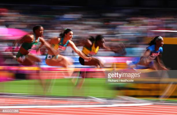 Lindsay Lindley of Nigeria Michelle Jenneke of Australia Yanique Thompson of Jamaica and Kendra Harrison of the United States compete in the Women's...