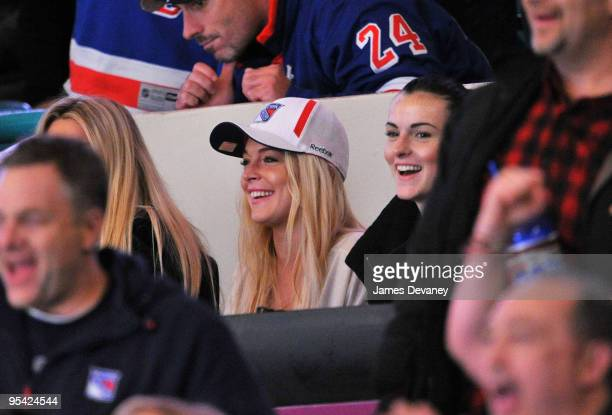 Lindsay Lohan and Ali Lohan attend the New York Islanders vs New York Rangers game at Madison Square Garden on December 26 2009 in New York City