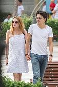 Lindsay Lohan and boyfriend Igor Tarabasov enjoy a romantic stroll on June 10 2016 in Madrid Spain