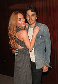 Lindsay Lohan and Egor Tarabasov attend a private screening with Alice Temperley of Disney's Alice Through The Looking Glass at the Bulgari Hotel on...