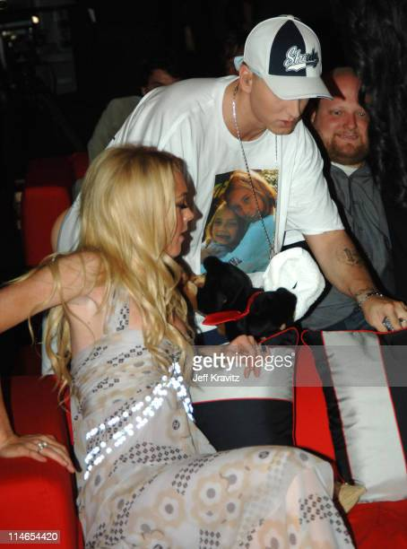 Lindsay Lohan and Eminem during 2005 MTV Movie Awards Backstage and Audience at Shrine Auditorium in Los Angeles California United States
