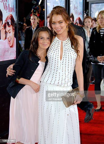 Lindsay Lohan and sister Ali Lohan during 'Just My Luck' Los Angeles Premiere Arrivals at Mann National Theater in Westwood California United States