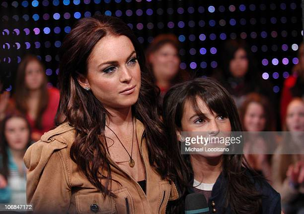 Lindsay Lohan and sister Ali Lohan during Lindsay Lohan Daniel Radcliffe Benji Madden Joel Madden and Avenged Sevenfold Visit MTV's 'TRL' November 11...