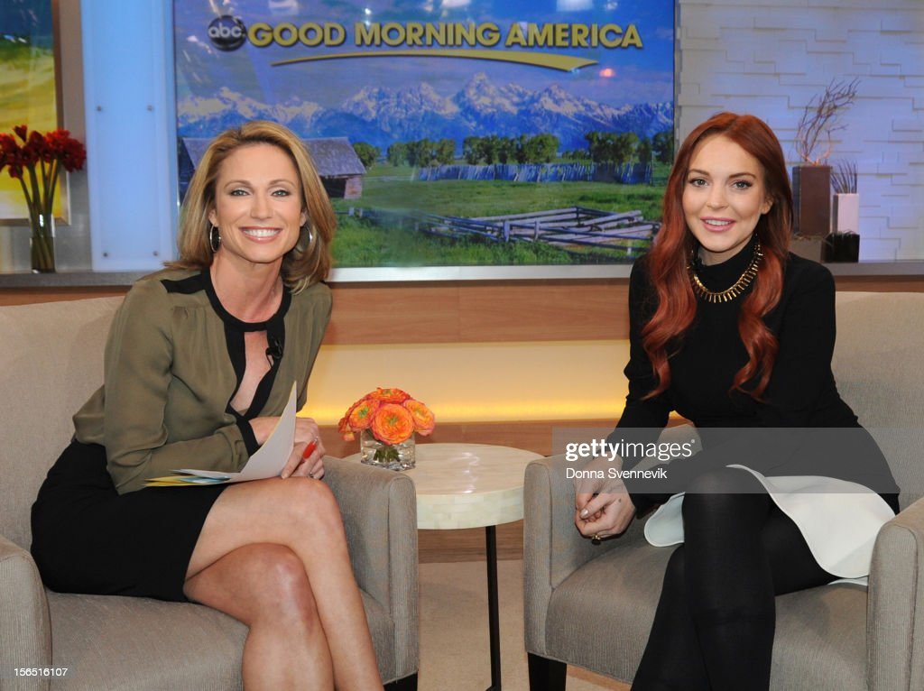 AMERICA - <a gi-track='captionPersonalityLinkClicked' href=/galleries/search?phrase=Lindsay+Lohan&family=editorial&specificpeople=171623 ng-click='$event.stopPropagation()'>Lindsay Lohan</a> appears on 'Good Morning America,' 11/16/12, airing on the ABC Television Network. (Photo by Donna Svennevik/ABC via Getty Images) AMY ROBACH, LINDSAY LOHAN