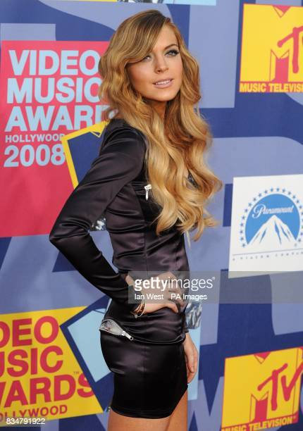 Lindsay Lohan arrives for the MTV Video Music Awards 2008 at Paramount Studios Hollywood Los Angeles California