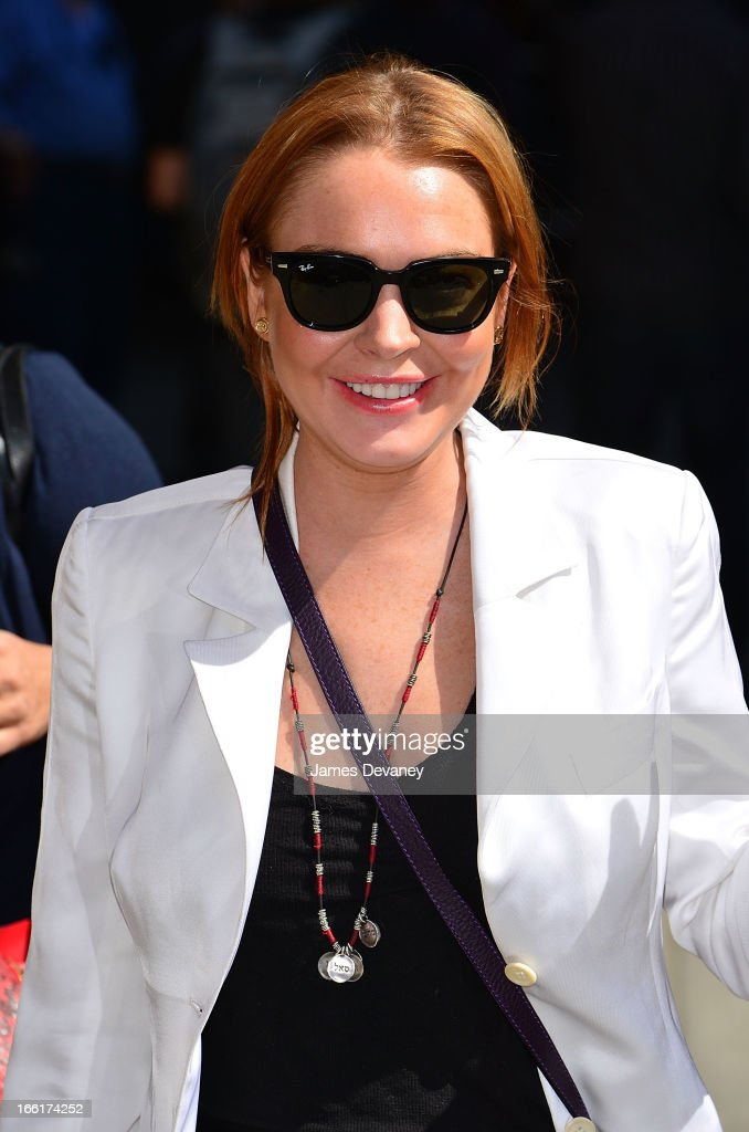 Lindsay Lohan arrives to 'Late Show With David Letterman' at Ed Sullivan Theater on April 9, 2013 in New York City.