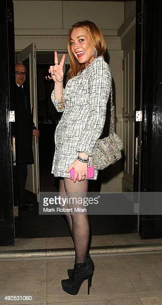 Lindsay Lohan attending the Damiani private VIP event at Mortons on October 13 2015 in London England