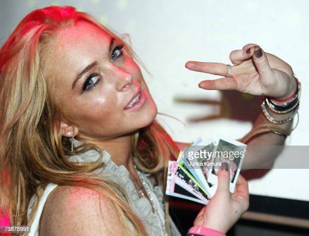 Lindsay Lohan attends an event with Charlotte Ronson at Warehouse on April 12 2007 in Tokyo Japan
