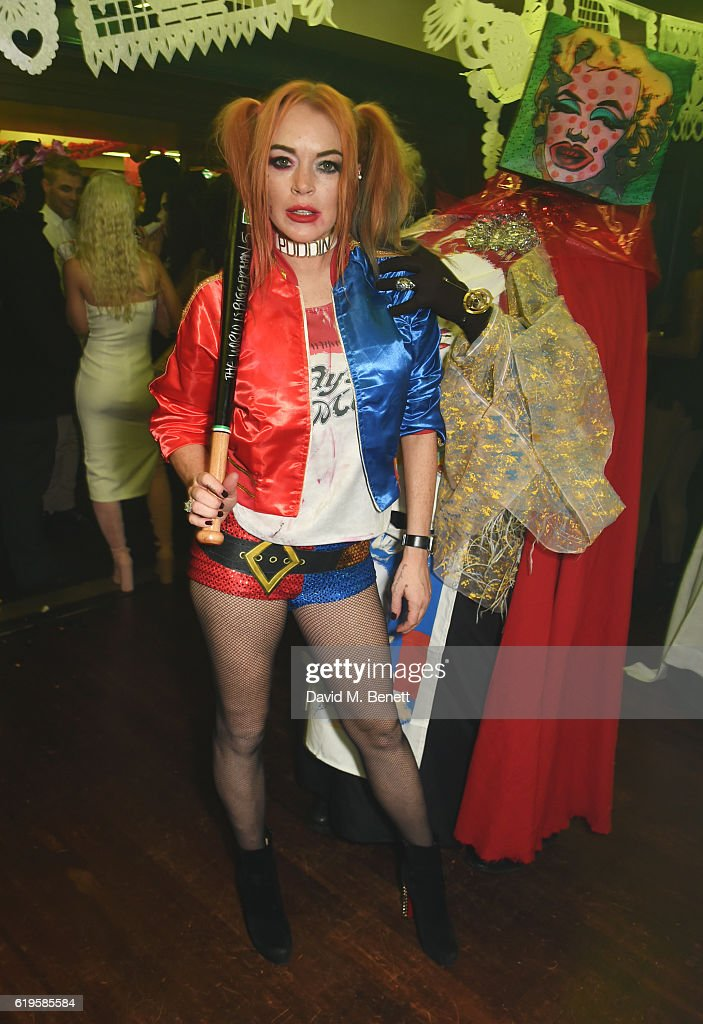 Lindsay Lohan attends Fran Cutler's Halloween Party supported by Belvedere Vodka at Albert's Club on October 31, 2016 in London, England.