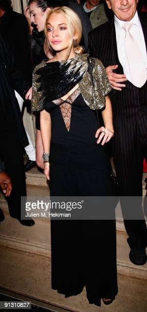 Lindsay Lohan attends the 90 years of Vogue covers at Hotel Crillon on October 1 2009 in Paris France