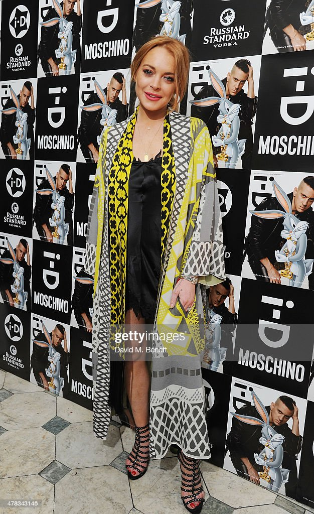 Lindsay Lohan attends the i-D 35 x Jeremy Scott for Moschino party celebrating i-D Magazine's 35th anniversary at Il Bottaccio on June 24, 2015 in London, England.