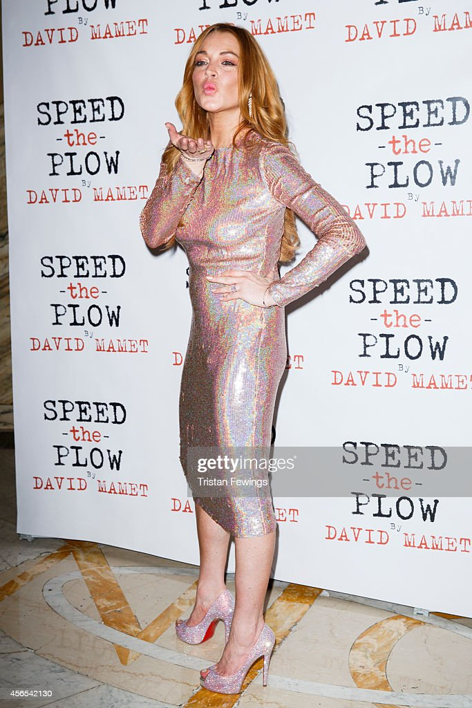 Lindsay Lohan attends the press night after party of 'Speed The Plow' at Playhouse Theatre on October 2 2014 in London England
