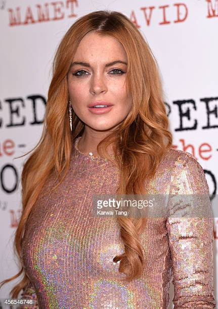 Lindsay Lohan attends the press night afterparty of 'Speed The Plow' at National Liberal Club on October 2 2014 in London England
