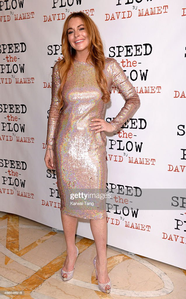 <a gi-track='captionPersonalityLinkClicked' href=/galleries/search?phrase=Lindsay+Lohan&family=editorial&specificpeople=171623 ng-click='$event.stopPropagation()'>Lindsay Lohan</a> attends the press night afterparty of 'Speed The Plow' at National Liberal Club on October 2, 2014 in London, England.