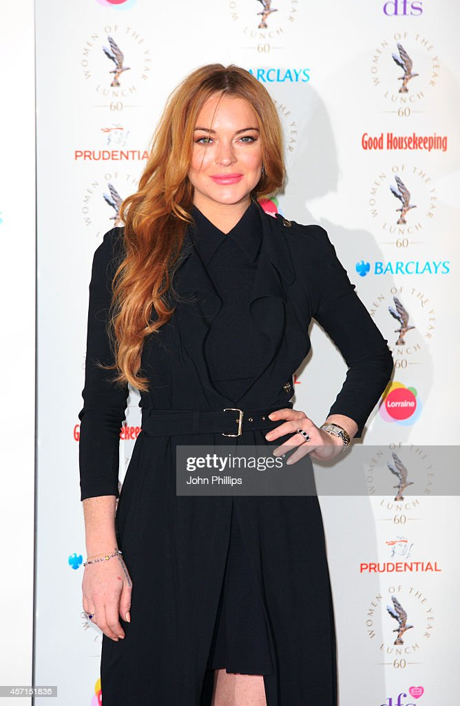 <a gi-track='captionPersonalityLinkClicked' href=/galleries/search?phrase=Lindsay+Lohan&family=editorial&specificpeople=171623 ng-click='$event.stopPropagation()'>Lindsay Lohan</a> attends the Women Of The Year lunch at InterContinental Park Lane Hotel on October 13, 2014 in London, England.