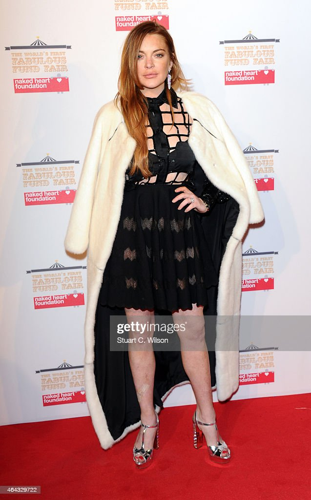 Lindsay Lohan attends The World's First Fabulous Fund Fair in aid of The Naked Heart Foundation at The Roundhouse on February 24, 2015 in London, England.