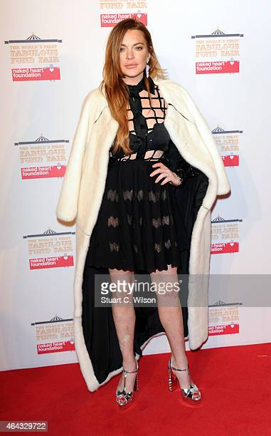 Lindsay Lohan attends The World's First Fabulous Fund Fair in aid of The Naked Heart Foundation at The Roundhouse on February 24 2015 in London...