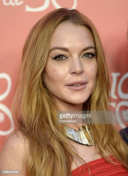Lindsay Lohan attends 'Uno de 50' 20th anniversary party at Palacio de Saldana on June 9 2016 in Madrid Spain