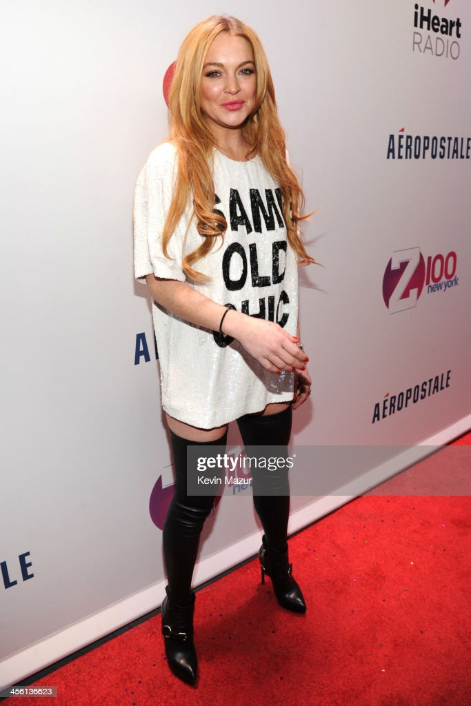 <a gi-track='captionPersonalityLinkClicked' href=/galleries/search?phrase=Lindsay+Lohan&family=editorial&specificpeople=171623 ng-click='$event.stopPropagation()'>Lindsay Lohan</a> attends Z100's Jingle Ball 2013, presented by Aeropostale at Madison Square Garden on December 13, 2013 in New York City.