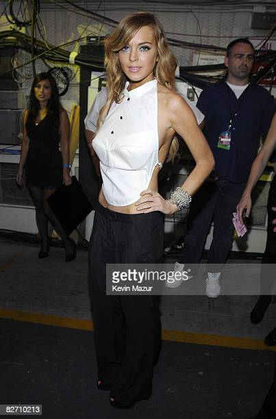 Lindsay Lohan backstage at the 2008 MTV Video Music Awards at Paramount Pictures Studios on September 7 2008 in Los Angeles California