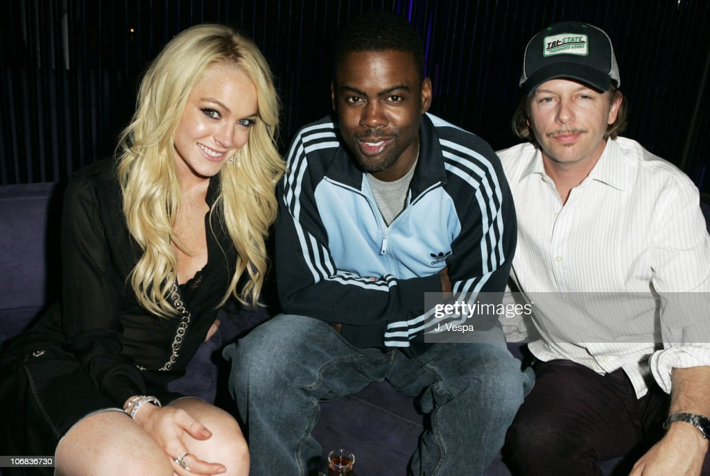 Lindsay Lohan, Chris Rock and David Spade during Lindsay Lohan's 2005 MTV Movie Award After Party at The Standard Hotel in Los Angeles, California, United States.