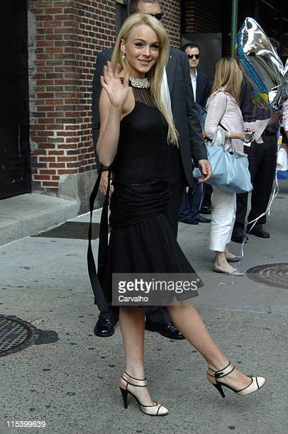 Lindsay Lohan during Lindsay Lohan Departs 'The Late Show with David Letterman' June 21 2005 at Ed Sullivan Theater in New York City New York United...
