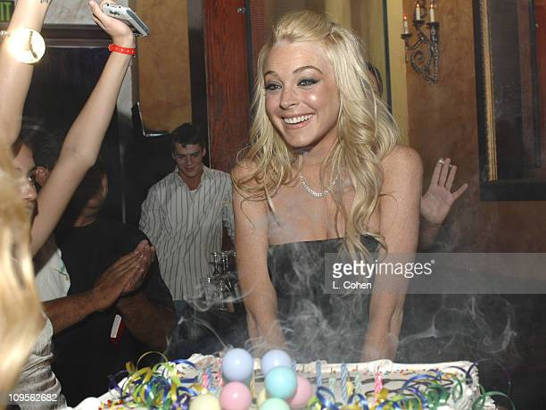Lindsay Lohan during Lindsay Lohan's Birthday Celebration and 'Herbie Fully Loaded' After Premiere Party at Basque in Hollywood California United...