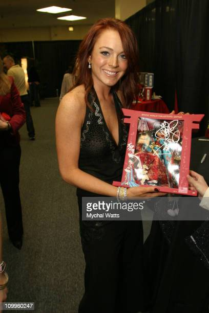 Lindsay Lohan during Z100's Jingle Ball 2004 Artist Gift Lounge by On 3 Productions at Madison Square Garden in New York City New York United States
