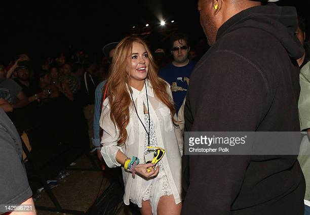 Lindsay Lohan in the audience during day 3 of the 2012 Coachella Valley Music Arts Festival at the Empire Polo Field on April 15 2012 in Indio...